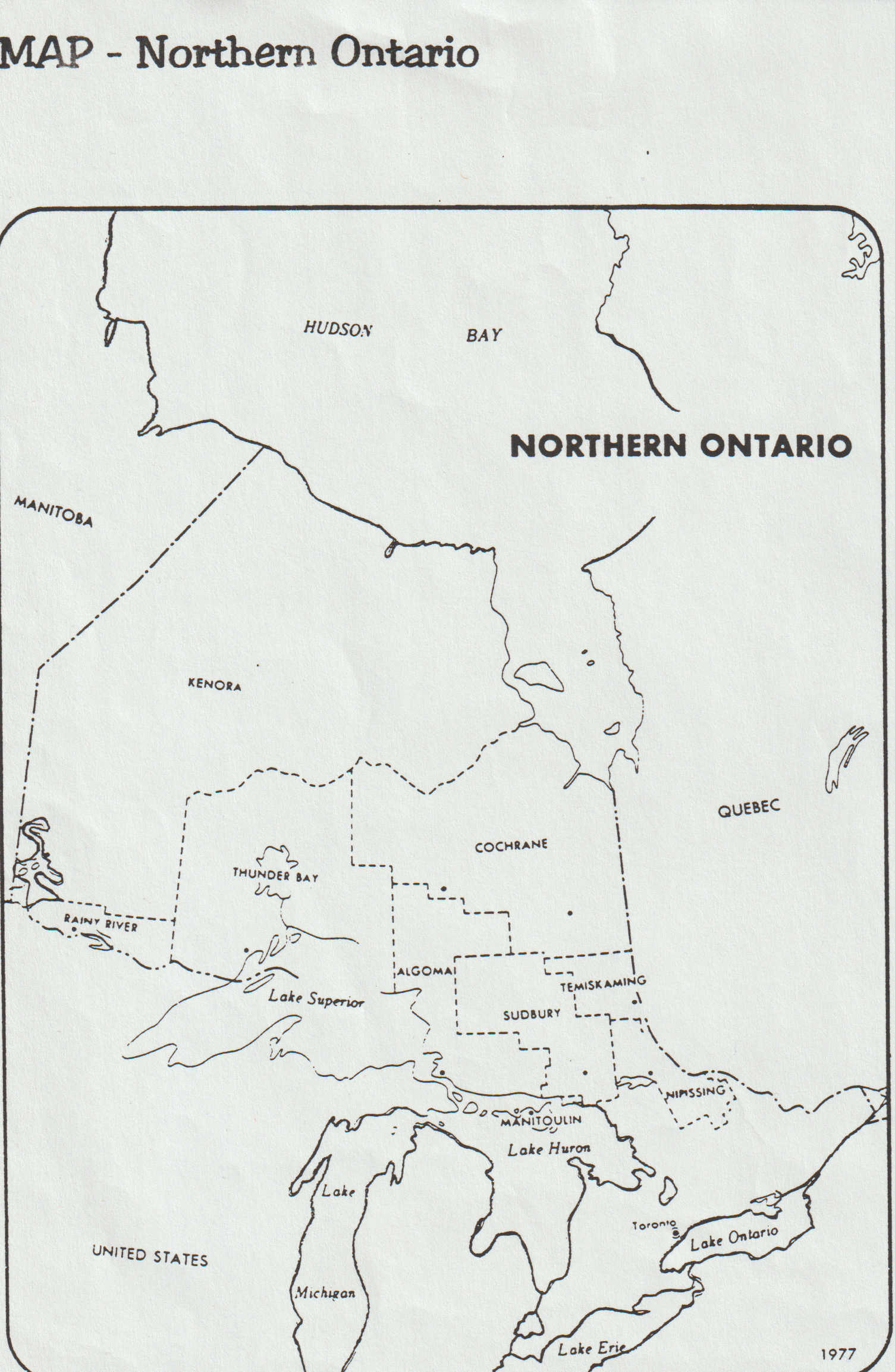 Map Northern Ontario